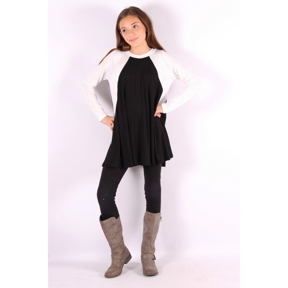 Lori/&Jane Girls Black White Two-Tone Flared Long Sleeve Trendy Top 6-14