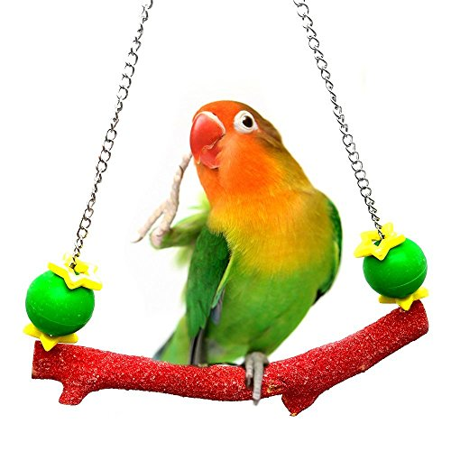oys Natural Wood Bridge Parrot Sand Perch Stand Toys Cage Accessories for Small and Medium Birds Budgies Parakeet Cockatiel Conure Love Bird Finches (Sand Perch Swing)