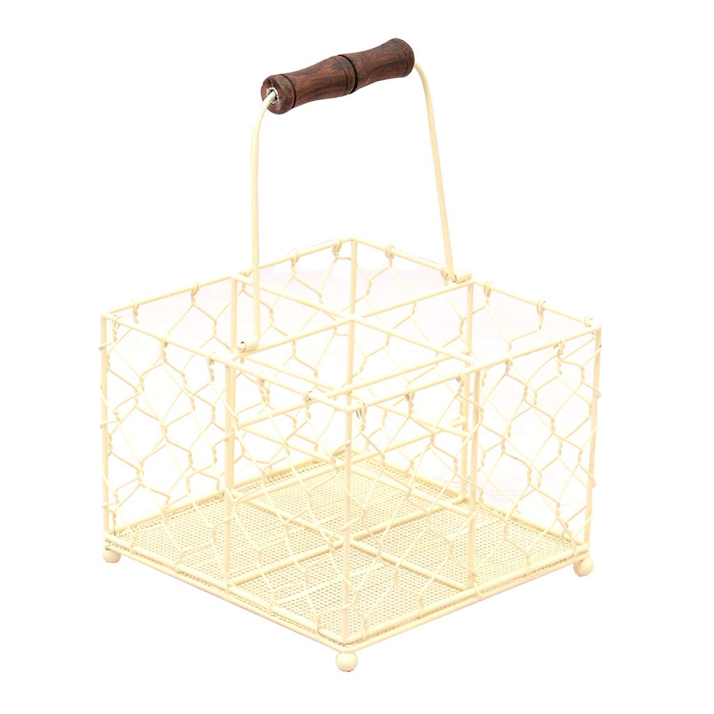 Rustic Country Cottage Cream Chicken Wire Basket Carrier. Perfect For Carrying Glasses, Bottles, Cutlery Or Condiments And Sauces For Your Outdoor Events Like Barbecues, Picnics And Garden Parties. L20 x W20 Overall: H 32 x D 12.5 cm Dibor