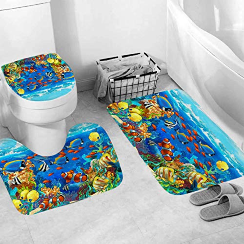 Jessie storee 3Pcs/Set Bathroom Mat Set Sea Fish Toilet Rug Anti Slip Bath Mat Rugs Home Decor Bathroom Anti-Slippery Rubber Back & Elastic Edges, Fish School - B (Up Waffle Pick Lines)