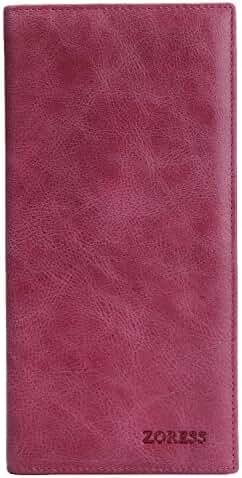 ZORESS Men's Vintage Look Genuine Leather Ultrathin Bifold Long Wallet