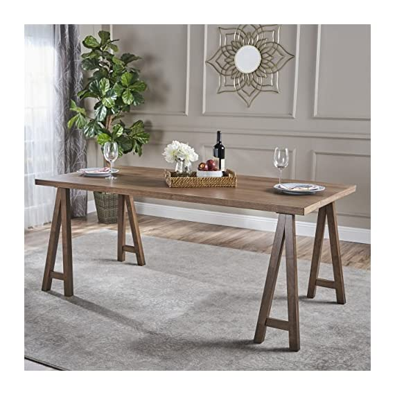 "Christopher Knight Home Sabine Farmhouse Wood Dining Table, Natural Walnut Finish - This Simple, elegant dining table will make an attractive addition to almost any home. Versatile enough to serve as a large desk or gaming table, it is made from rubberwood and natural oak and constructed to hold up to any of the uses you might imagine for it. You're sure to get many compliments on it Includes: one (1) table Dimensions: 35. 40""D x 70. 80""W x 29. 50""H - kitchen-dining-room-furniture, kitchen-dining-room, kitchen-dining-room-tables - 51oSgPVFetL. SS570  -"