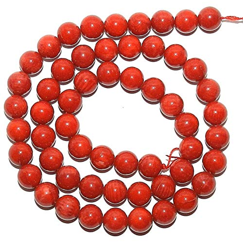 (Red Bamboo Coral 7mm Round Gemstone Beads 16#ID-1221 )
