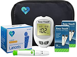 Easy Touch Diabetes Testing Kit   Easy Touch Meter, Easy Touch Blood Glucose Test Strips, Lancets, Easy Touch Lancing Device, Owner's Manual, Log Book & Carry Case
