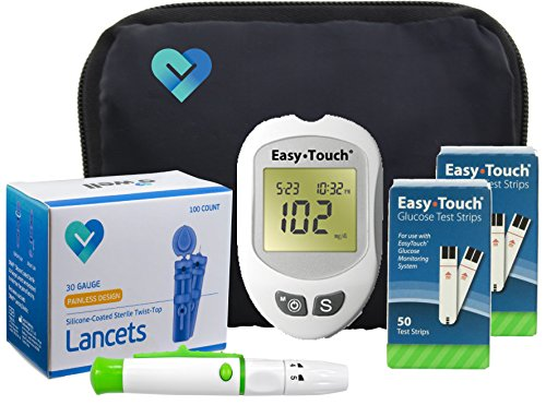 Easy Touch Diabetes Testing Kit – Easy Touch Meter, 100 Easy Touch Blood Glucose Test Strips, 100 O'well Lancets 30g, Easy Touch Lancing Device, Owner's Manual & Carry Case
