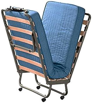 Ailime 8020768253038 - Cama supletoria plegable, metal, 80 x 200 cm, color negro y azul: Amazon.es: Hogar