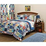 DOS 7pc Kids Sports Themed Comforter Full Set, Baseball Basketball Football Soccer Childrens Bedding, All Sports Champion, Girls Boys Unisex Patterned Color Blue Orange White Black