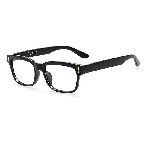 Cyxus Blue Light Filter Computer Glasses for Blocking UV Headache [Anti Eye Fatigue] Retro Eyeglasses,Unisex(Women/Men) (Classic Black Frame)