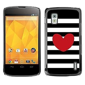 Be Good Phone Accessory // Dura Cáscara cubierta Protectora Caso Carcasa Funda de Protección para LG Google Nexus 4 E960 // Stripes Horizontal Love Black White