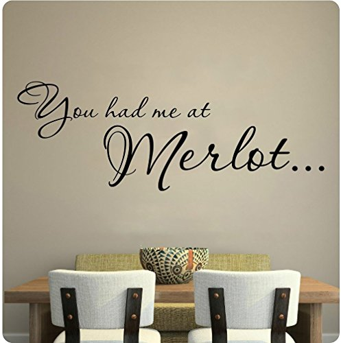 Letters Wall Decor Stickers You Had Me at Merlot Wine Kitchen Grapes Wall Decal Sticker Art Mural Home -