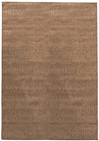 Berrnour Home Summer Collection Natural Dark Brown Solid Design Indoor / Outdoor Jute Backing Area Rug (Brown Indoor Outdoor Rug)