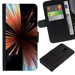 [Neutron-Star] Modelo colorido cuero de la carpeta del tirón del caso cubierta piel Holster Funda protecció Para Samsung Galaxy S5 Mini (Not S5), SM-G800 [Vortex Resumen Líneas Negro]