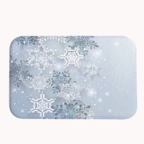 Yilooom Snowflake Winter Super Absorbent Non-slip Bath Mat Coral Fleece Area Rug Door Mat Entrance Rug Floor Mats for Front Outside Doors 50 X 80 cm