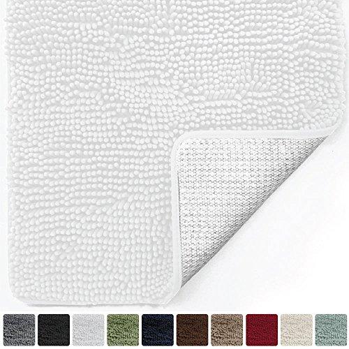 Gorilla Grip Original Luxury Chenille Bathroom Rug Mat (44 x 26), Extra Soft Absorbent Large Shaggy Rugs, Machine Wash/Dry, Perfect Plush Carpet Mats Tub, Shower Bath Room (White) ()