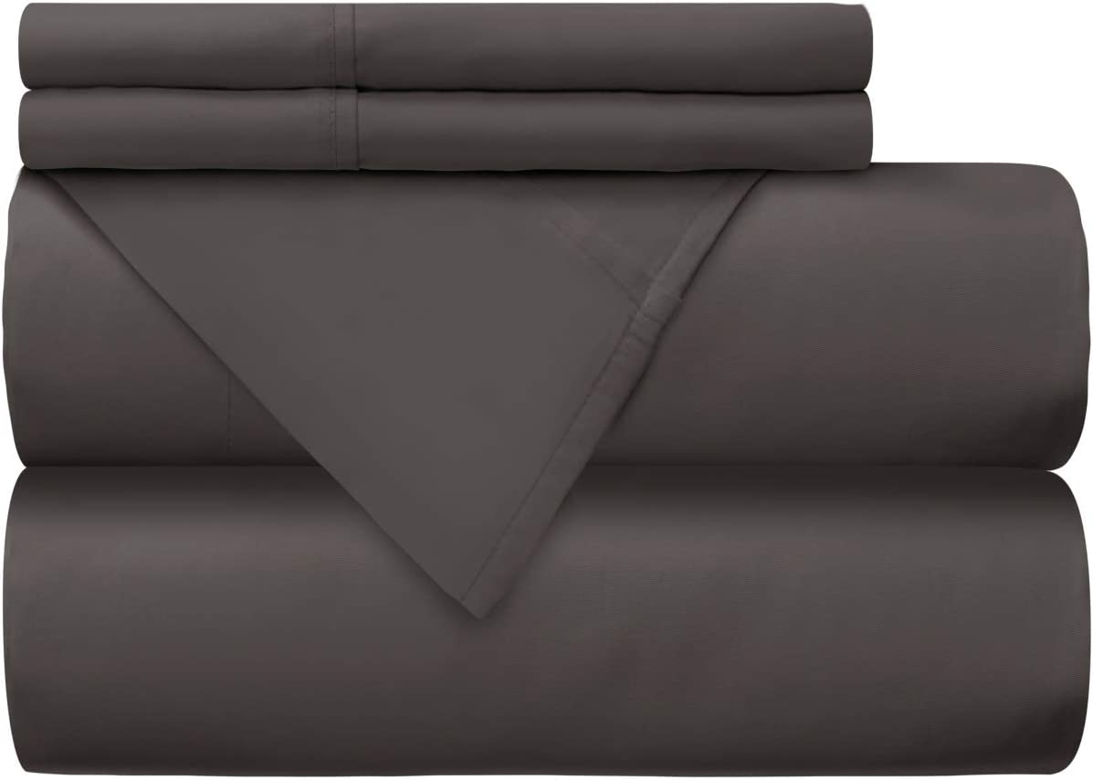 Mellanni 100% Cotton Bed Sheet Set - 300 Thread Count Percale - Deep Pocket - Quality Luxury Bedding - 4 Piece (King, Gray)