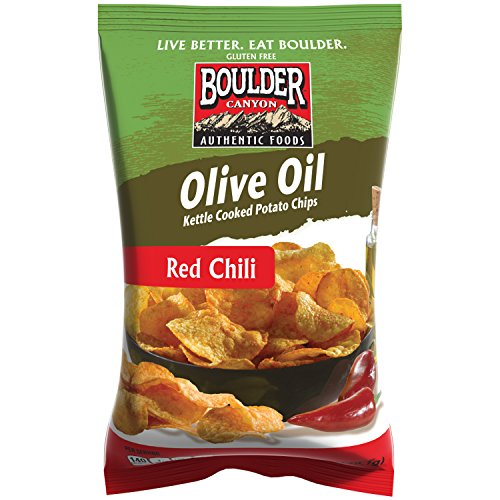 Kettle Chili (Boulder Canyon Kettle Cooked Potato Chips, Olive Oil Canyon Cut, Red Chili, 5.25 Ounce, (Pack of)