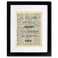 Regret Chances We Didn't Take Quote Dictionary Art Print - Vintage Dictionary Print 8x10 inch Home Vintage Art Wall Art for Home Decor Wall Decorations For Living Room Bedroom Office Ready-to-Frame