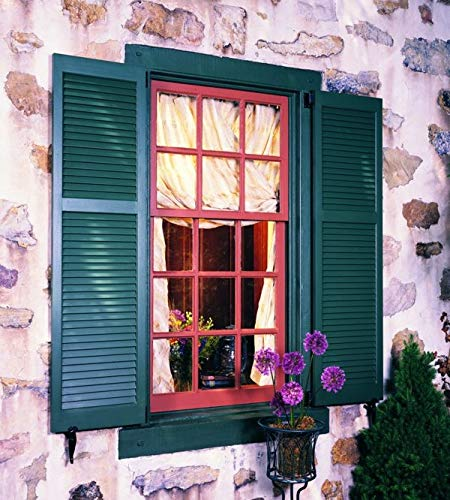 LTL Home Products SHL51 Exterior Solid Wood Louvered Window Shutters 15'' x 51'' Unfinished Pine
