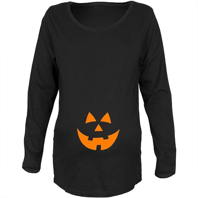 faa8292a6dabe Halloween Belly Jack-O-Lantern Orange Glow Black Maternity Soft Long Sleeve  T-