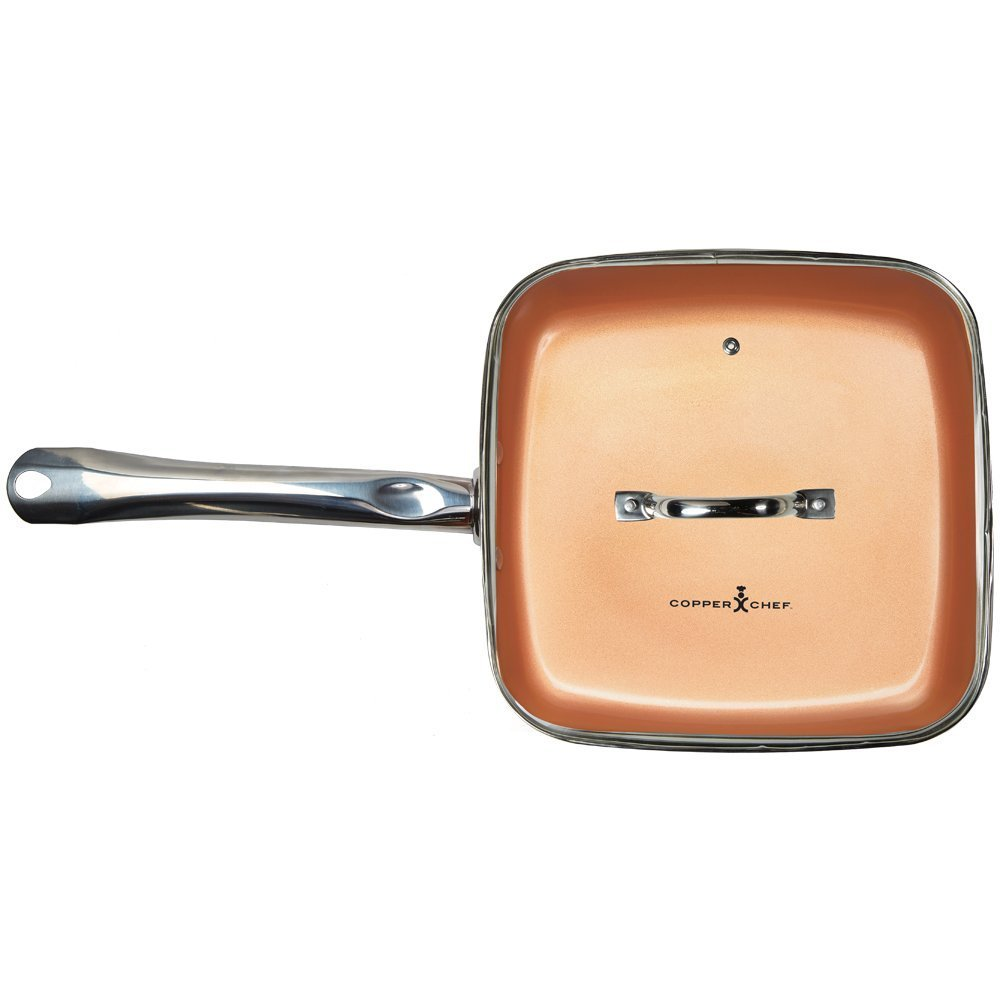 Copper Chef 9 5 Inch Square Frying Pan With Lid Skillet