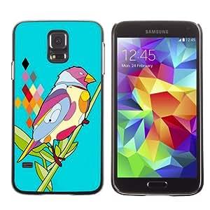 Licase Hard Protective Case Skin Cover for Samsung Galaxy S5 - Psychedelic Bird Illustration wangjiang maoyi
