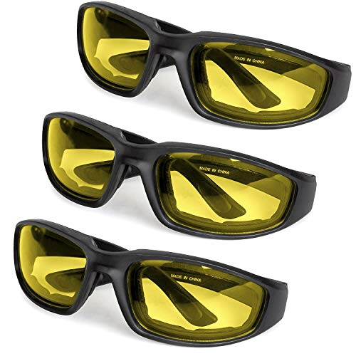 3-Pack Motorcycle Glasses - Foam Padding - Anti-Wind & Dust - Polycarbonate Lens (Yellow) ()