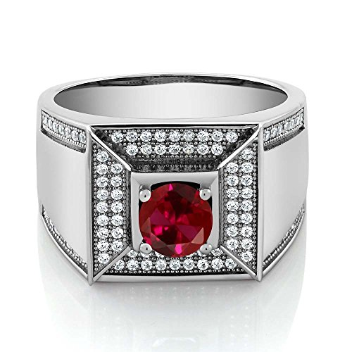 2.10 Ct Round Red Created Ruby 925 Sterling Silver Men's Ring