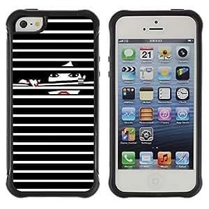 Híbridos estuche rígido plástico de protección con soporte para el Apple iPhone 5 / 5S - nails black white lady