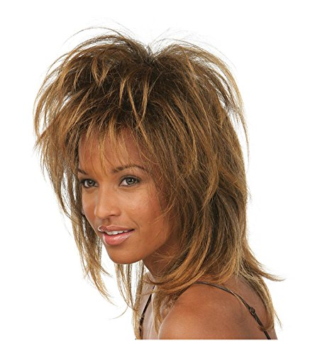 [Women's 80's Rockstar Wig (Medium Brown)] (Tina Turner Wigs)