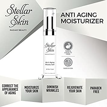Stellar Skin Face Moisturizer – Anti Aging Cream 1 oz – Best to Boost Collagen and Reduce Fine Lines Wrinkles, Contains Duo-Peptides, Skin Care That Works to Restore Youthful Glow