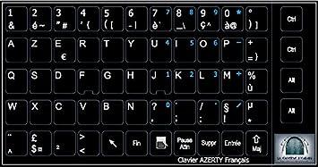Adhesivo de teclado francés con números FnFnum y fondo negro