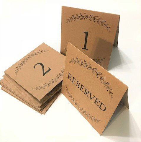 Kraft Table Number Cards1-20 Plus 4 Reserved Cards, reservation, reception, party, table top, wedding, anniversary, formal dinner, seating, saved seats, place seating, reception, nuptials, marriage