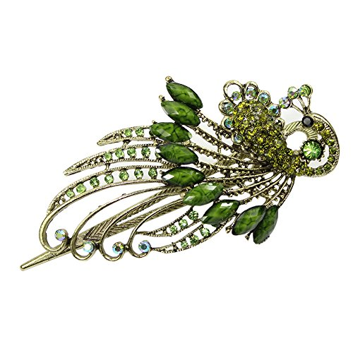 Newstarfactory Green Vintage Peacock Alligator Hair Clip with Exclusive Gift