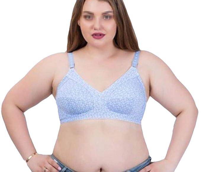 0eb95c76d4 Fllay Women s Soft Plus Size Print Full Figure Wirefree Cotton Bra Blue 40C