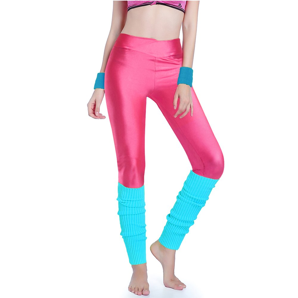 Kimberly's Knit Women 80s Party Neon Capri Running Workout Leggings Leg Warmers Black+Briyellow)