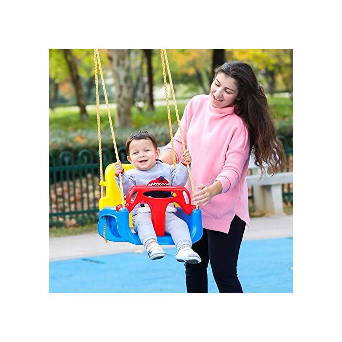 51oSjLFWd2L ➦ DISEÑO 3-EN-1: El columpio tiene el diseño de una combinación de 3 en 1 que satisface la demanda suficiente para el crecimiento de sus hijos. Se adapta desde bebés hasta adolescentes. ➦ SEGURO SUFICIENTE: El protector de la barra en T y la parte posterior (que tiene un cinturón de seguridad colocado) garantizan la seguridad de sus hijos. El diseño especial de la hebilla para cuerda de nylon protege el columpio de volcarse. ➦ LONGLIFE PARA USO: El asiento del columpio está hecho de plástico de alta calidad que garantiza años de balanceo.