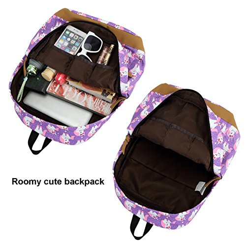 CAMTOP Teens Backpack for School Boys Girls School Bookbag Set Travel Daypack (3pcs Backpack sets/Purple) by CAMTOP (Image #3)