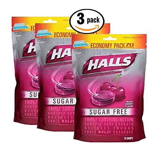 Pack of 3 - 70 Count Economy Pack Halls Sugar Free Menthol-Lyptus Cough Drops - Black Cherry