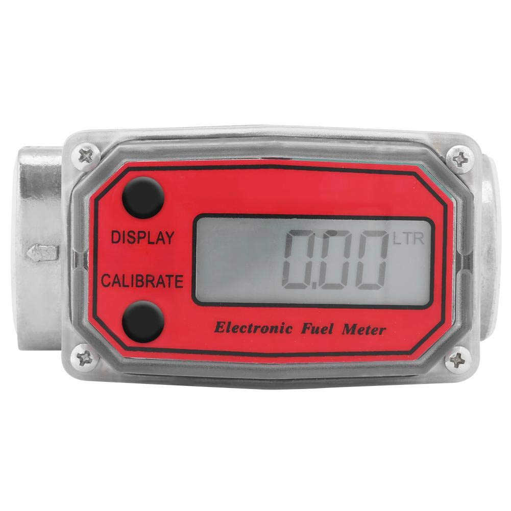 1″ Digital Turbine Flow Meter,Gas Oil Fuel Flowmeter,Pump Flow Meter Diesel Fuel Diesel Kerosene Line Pipe Counter for Chemicals Water etc(Red)