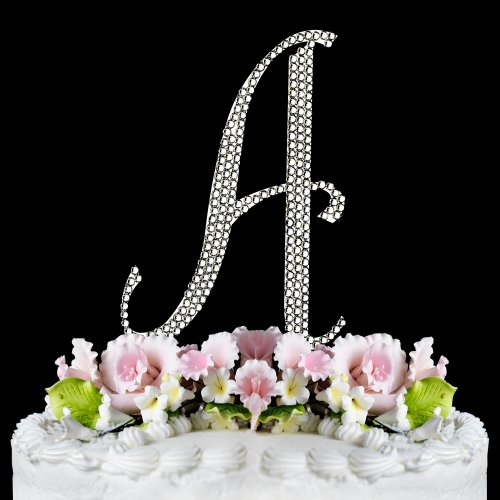 Completely Covered Swarovski Crystal Silver Wedding Cake Toppers ~ LARGE Monogram Letter A (Jewelry Cake Swarovski)