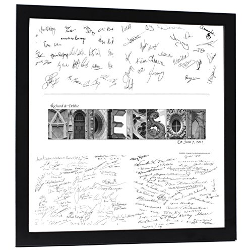 Personalized Wedding Book Guest Registry and Architectural Name Sign includes 20 by 20 inch Frame with Collage and Signature Mat - Best Wedding Gift