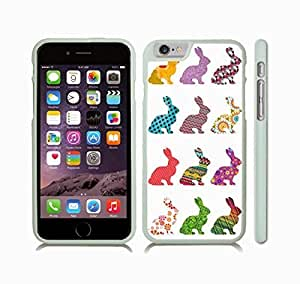 iStar Cases? iPhone 6 Plus Case with Rabbit Patterns, Rabbit Silhouettes filled with Colorful Patterns , Snap-on Cover, Hard Carrying Case (White)