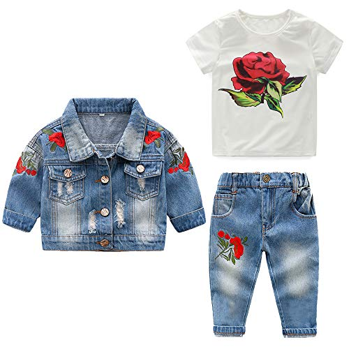 (Top and Top Baby Girls 3PCS Rose Print T-Shirt Flower Embroidery Toddler Ripped Denim Coat and Pants Outfits for Kids (110/2 Years, Blue))