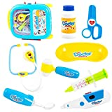Lanlan 8pcs Pretend & Role Play Doctor Medical Kit Toy with a Trolley Case for Kids Blue