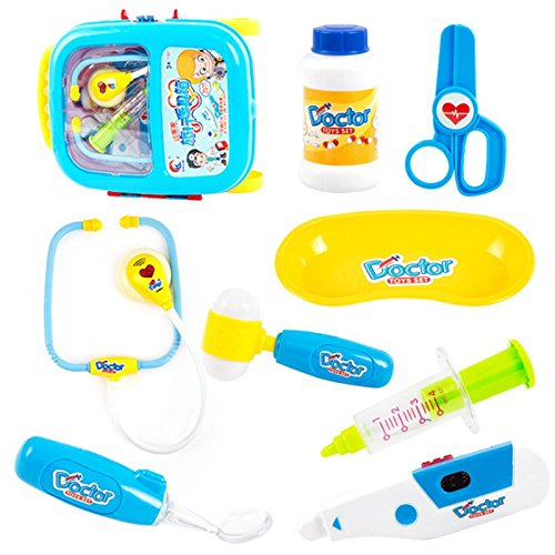 Lanlan 8pcs Pretend & Role Play Doctor Medical Kit Toy with a Trolley Case for Kids Blue by Lanlan