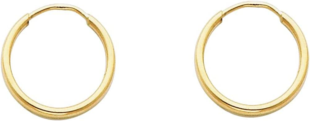 14K Yellow Gold Hoop Earrings 1.5 MM Thick Continuous Endless Hoop Earrings For Women 15MM - 60MM