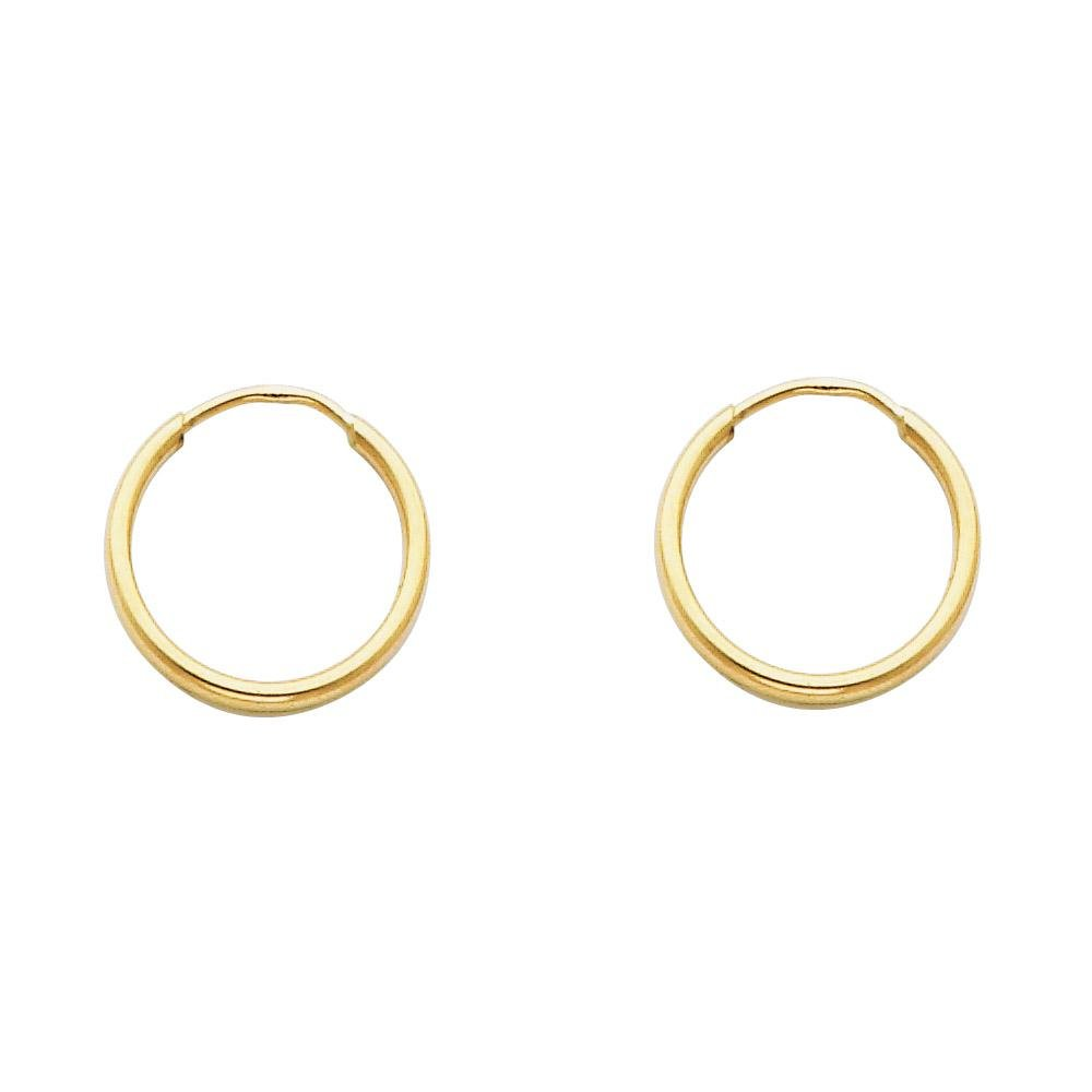 14K Yellow Gold 1.5 MM Thick Endless Tube Hoop Earrings - 8 Sizes Available - 15MM