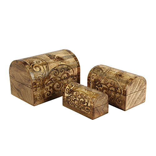- Aheli Rustic Handmade Set of 3 Wooden Boxes Jewelry Trinket Keepsake Box with Floral Carving for Home Decor