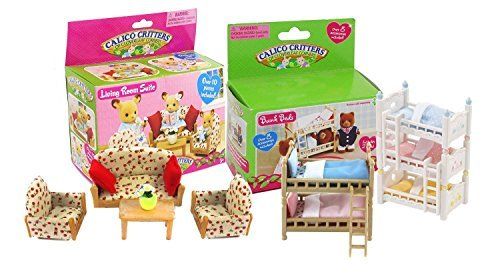 Calico Critters Bunk Beds, Triple Bunk and Living Room Set For Sale