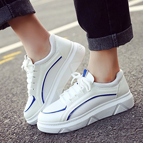 CYBLING Womens Casual Thick Soles Sneakers Fashion Running Trainers Sneakers Blue Lsu3kG